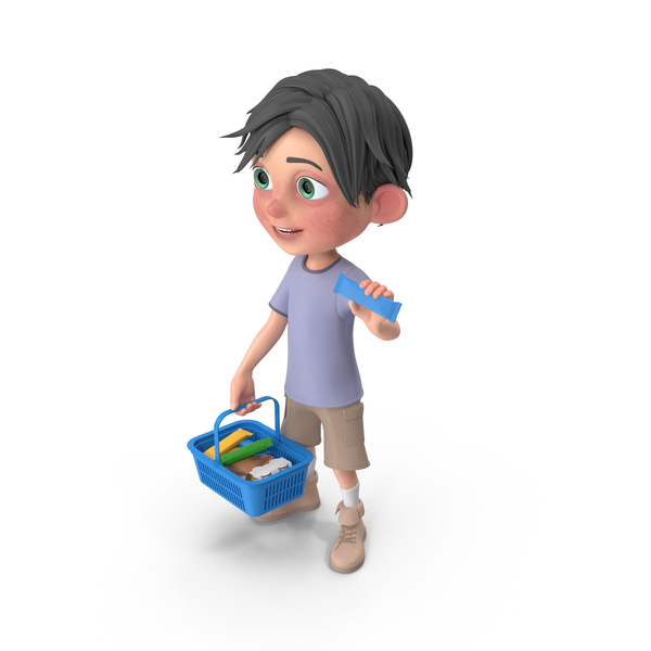 Cartoon Boy Jack Shopping Basket PNG & PSD Images