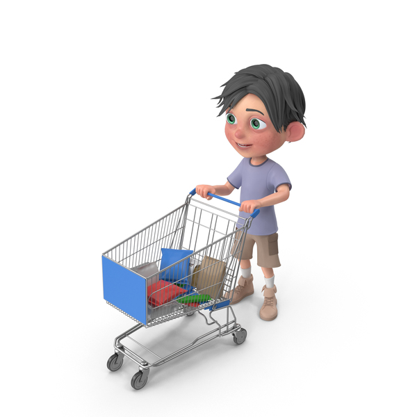 Cartoon Boy Jack Shopping Cart PNG & PSD Images