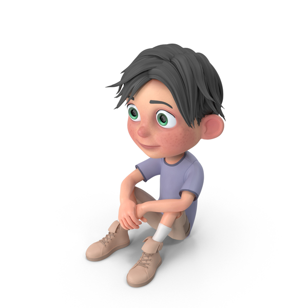 Cartoon Boy Jack Sitting On floor PNG & PSD Images