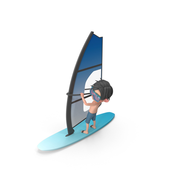 Cartoon Boy Jack Windsurfing PNG & PSD Images
