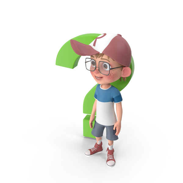 Cartoon Boy Standing Next to Question Sign PNG & PSD Images