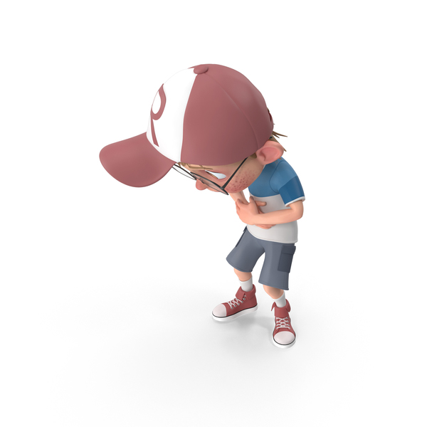 Cartoon Boy Stomach Ache PNG & PSD Images
