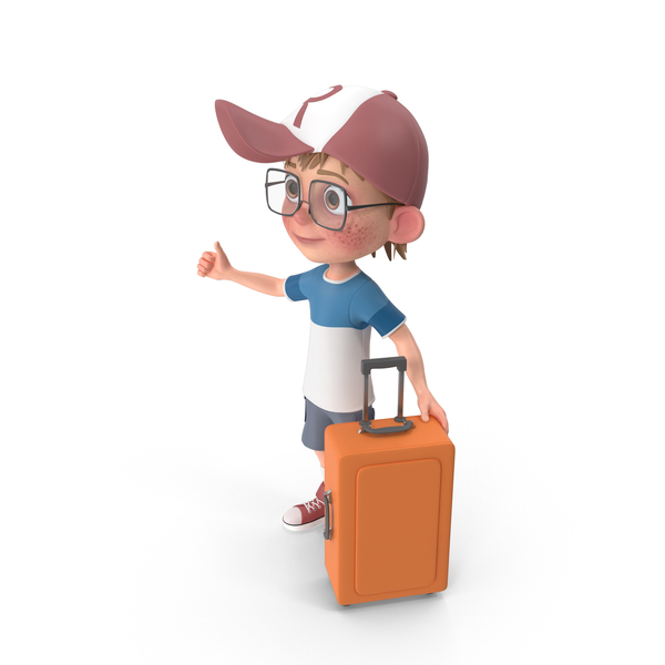 Cartoon Boy Travelling PNG & PSD Images