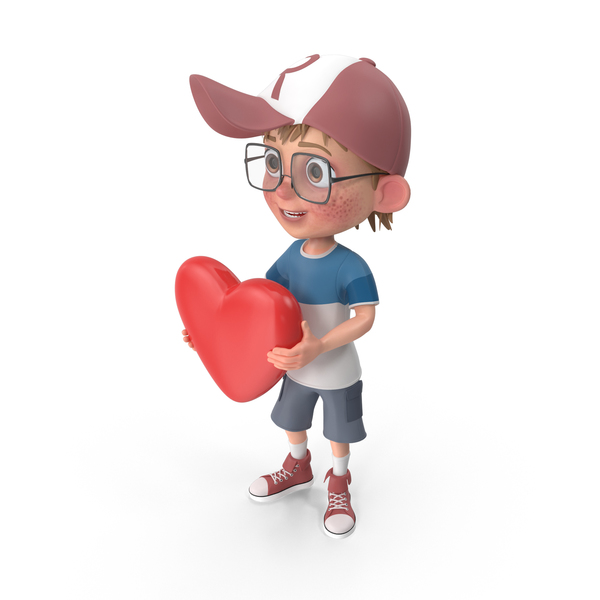 Cartoon Boy with Heart PNG & PSD Images