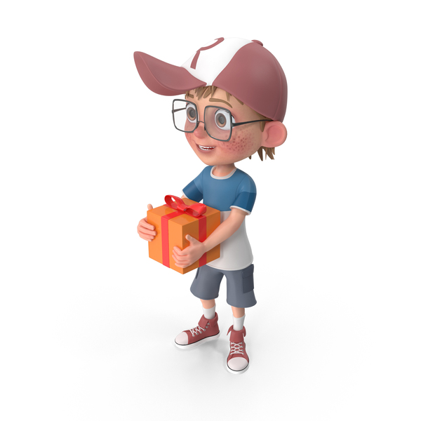 Cartoon Boy With Present PNG & PSD Images