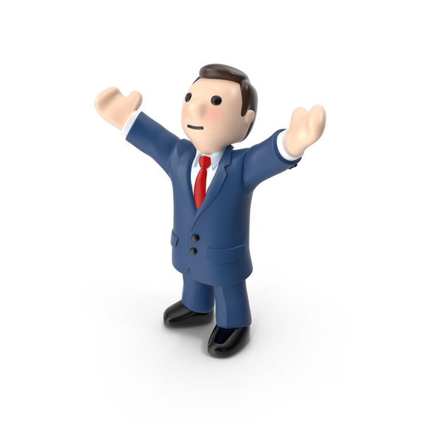 Cartoon Businessman Hands Up PNG & PSD Images