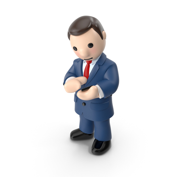 Cartoon Businessman Looking at Phone PNG & PSD Images