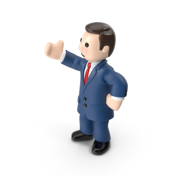 Cartoon Businessman Right Hand Up PNG & PSD Images