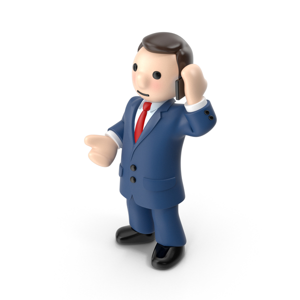 Cartoon Businessman With Phone PNG & PSD Images