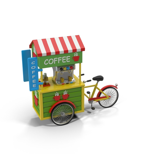 Cartoon Coffee Bicycle PNG & PSD Images