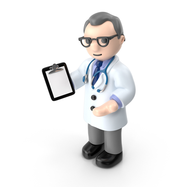 Cartoon Doctor with Pad PNG & PSD Images