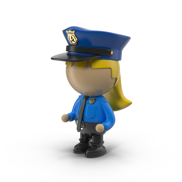 Cartoon Female Police Officer Object