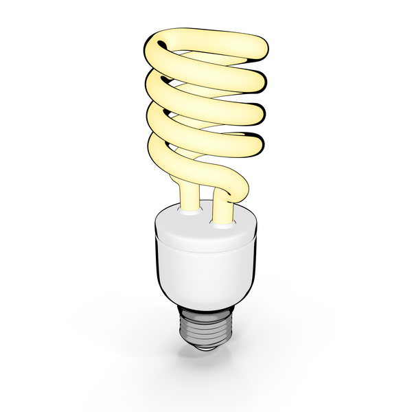 Cartoon Fluorescent Bulb PNG & PSD Images
