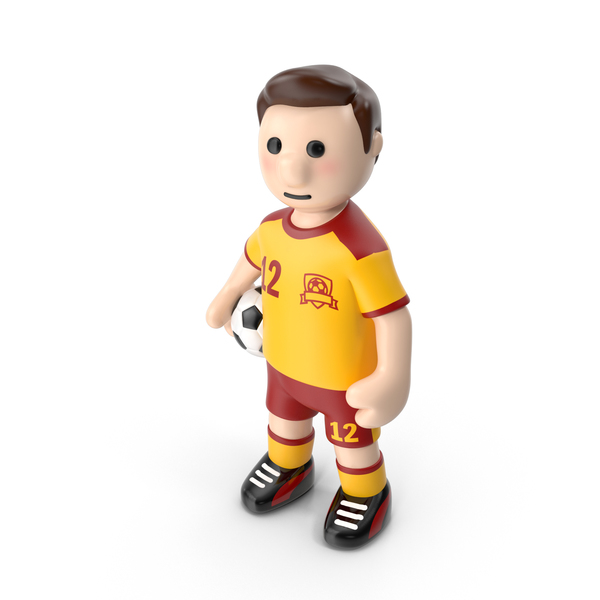Cartoon Football Player Stands with Ball PNG & PSD Images