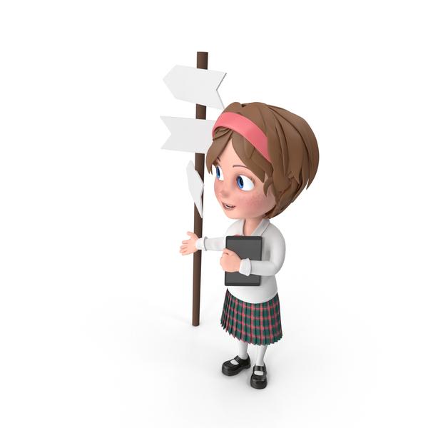 Cartoon Girl At Crossroad PNG & PSD Images