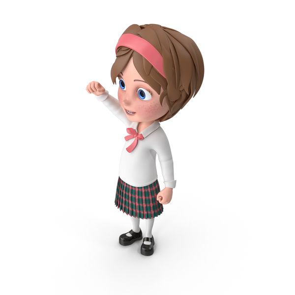 Cartoon Girl Cheering PNG & PSD Images