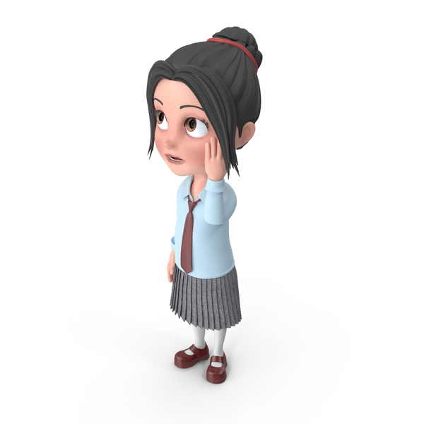 Cartoon Girl Emma Confused PNG & PSD Images