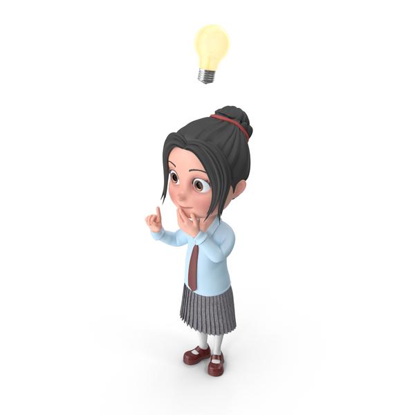Cartoon Girl Emma Has An Idea PNG & PSD Images