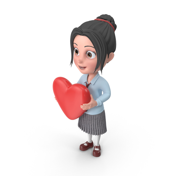 Cartoon Girl Emma Holding Heart PNG & PSD Images