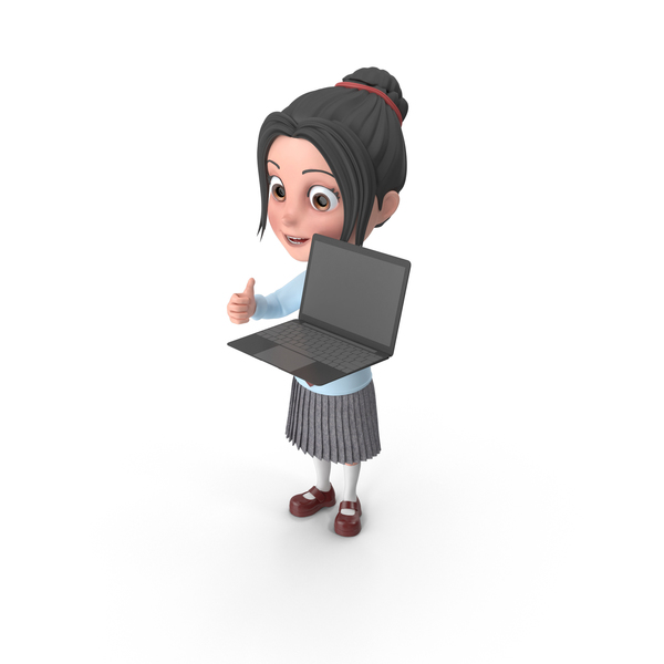 Cartoon Girl Emma Holding Laptop PNG & PSD Images