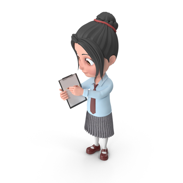 Cartoon Girl Emma Holding Notepad PNG & PSD Images