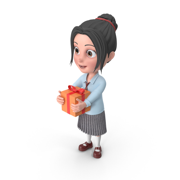 Cartoon Girl Emma Holding Present PNG & PSD Images