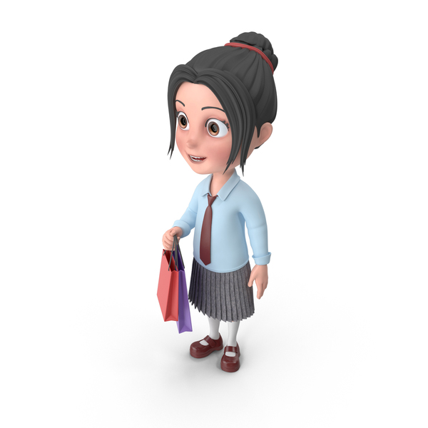Cartoon Girl Emma Shopping PNG & PSD Images