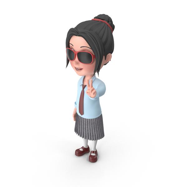 Cartoon Girl Emma Wearing Sunglasses PNG & PSD Images