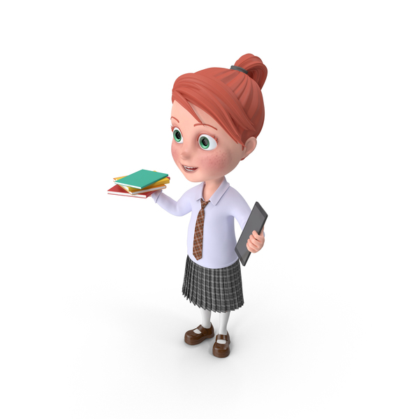 Cartoon Girl Grace Holding Books And Tablet PNG & PSD Images