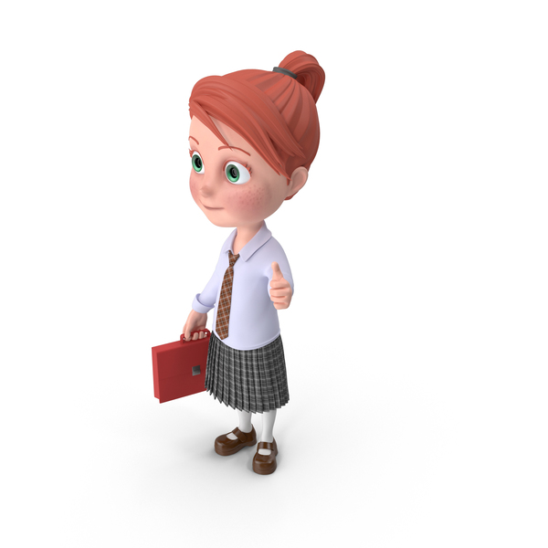 Cartoon Girl Grace Holding Briefcase PNG & PSD Images