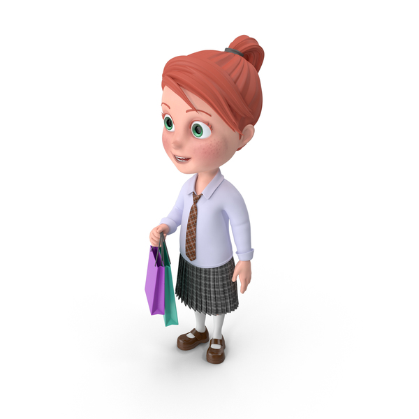 Cartoon Girl Grace Shopping PNG & PSD Images