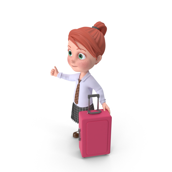 Cartoon Girl Grace Travelling PNG & PSD Images