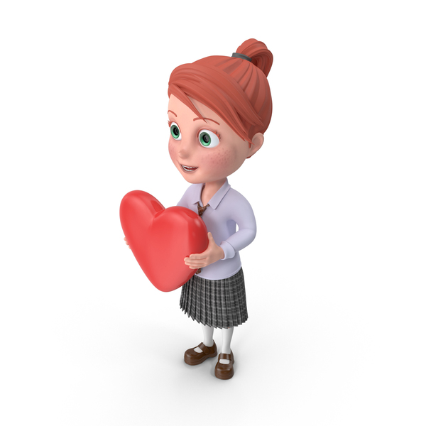 Cartoon Girl Grace with Heart PNG & PSD Images