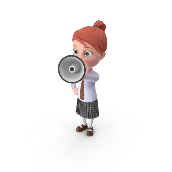 Cartoon Girl Grace with Loud Speaker PNG & PSD Images