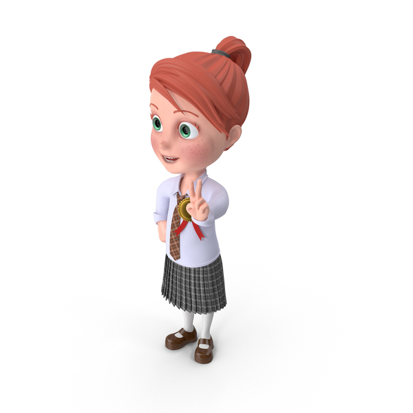 Cartoon Girl Grace with Medal PNG & PSD Images