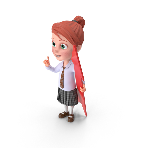 Cartoon Girl Grace with Pointer PNG & PSD Images