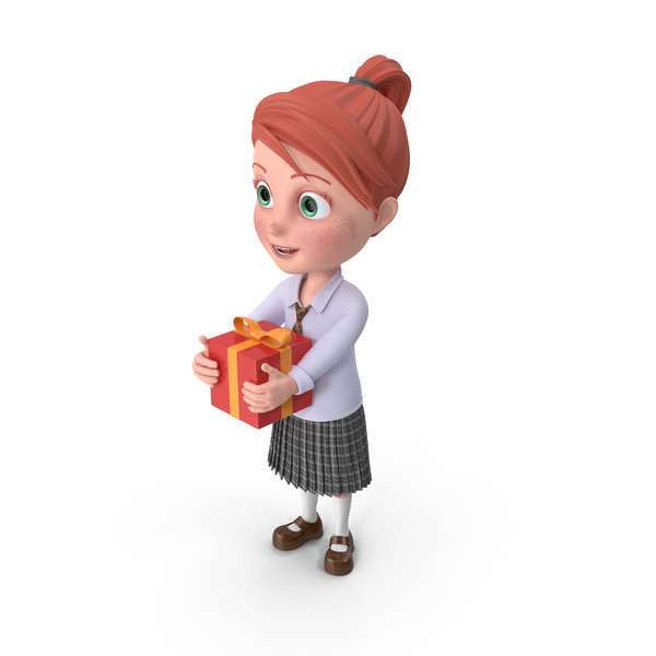 Cartoon Girl Grace with Present PNG & PSD Images