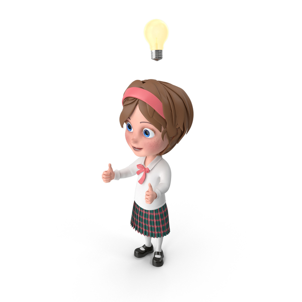 Cartoon Girl Has An Idea PNG & PSD Images