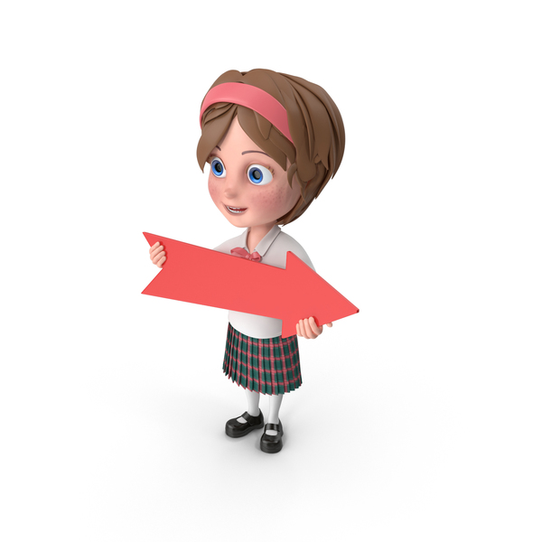 Cartoon Girl Holding Arrow PNG & PSD Images