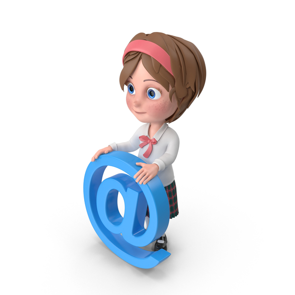 Cartoon Girl Holding At Sign PNG & PSD Images