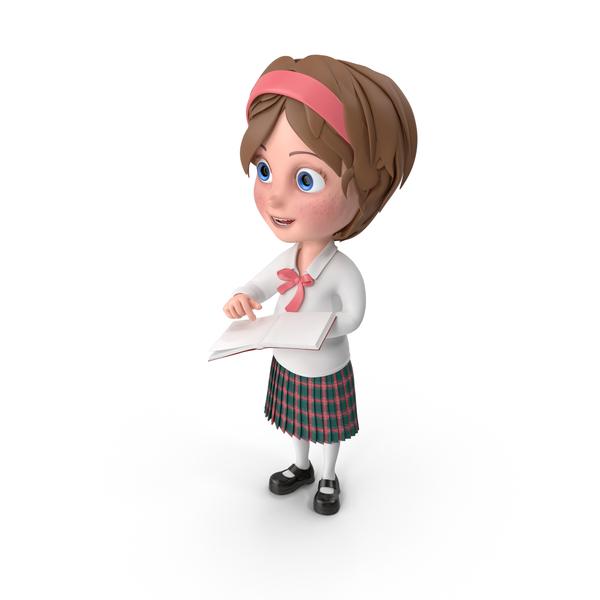 Cartoon Girl Holding Book PNG & PSD Images
