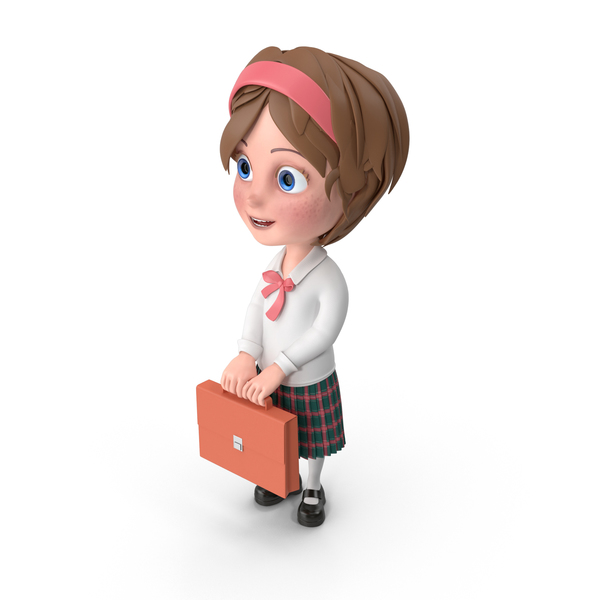 Cartoon Girl Holding Briefcase PNG & PSD Images