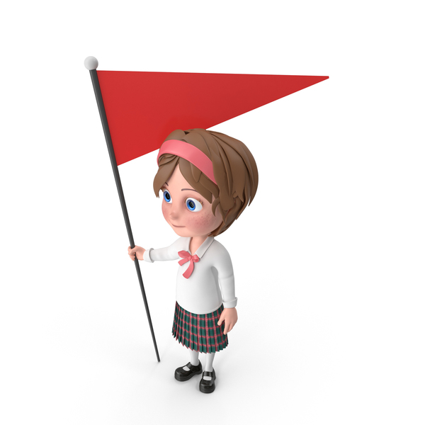 Cartoon Girl Holding Flag PNG & PSD Images