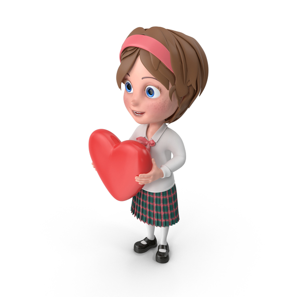 Cartoon Girl Holding Heart PNG & PSD Images