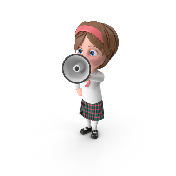 Cartoon Girl Holding Loud Speaker PNG & PSD Images
