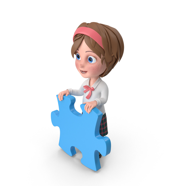 Cartoon Girl Holding Puzzle Piece PNG & PSD Images