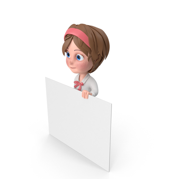 Cartoon Girl Holding Sign PNG & PSD Images