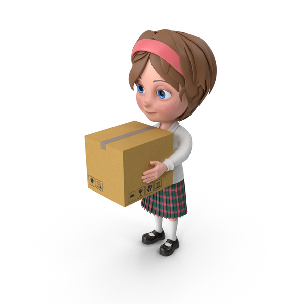 Cartoon Girl Meghan Carrying A Box PNG & PSD Images