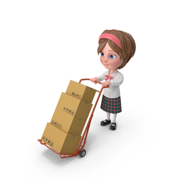 Cartoon Girl Meghan Carrying Boxes PNG & PSD Images