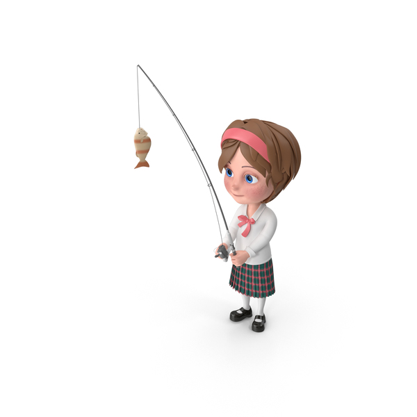 Cartoon Girl Meghan Fishing PNG & PSD Images